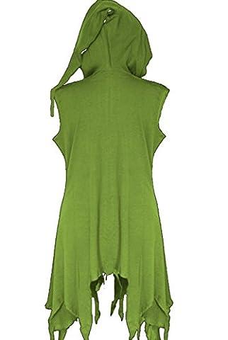 Dark Dreams Gothic Larp Mittelalter Hexe Wicca Pagan Ethno Zipfel Ärmellose Jacke Spell, Farbe:grün, (Gothic Hexe Kostüme Erwachsene)