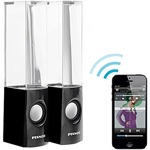 PIXNOR Wireless Bluetooth colorato LED fontana danzante acqua Mini altoparlanti per iPhone iPad cellulari PC (nero)