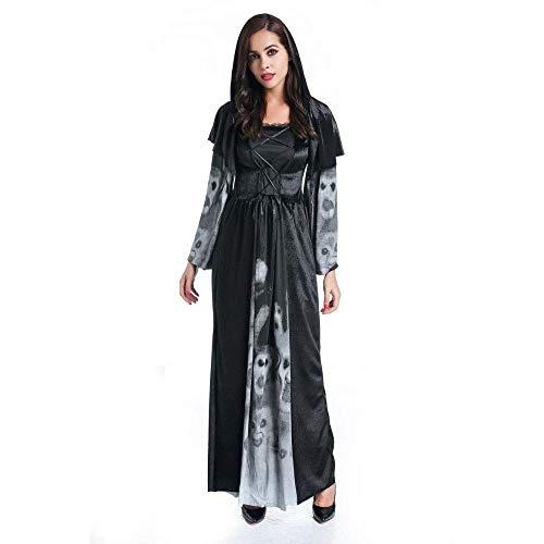 Fashion-Cos1 Womens Hoodie Hexe Zauberin Halloween Cosplay Kostüm Gothic Dark Wicked viktorianischen Kostüm Vampire Party Kostüm (Size : S) (Halloween Make-up Viktorianischen)