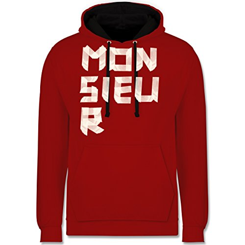 Statement Shirts - Monsieur Klebestreifen - Kontrast Hoodie Rot/Schwarz