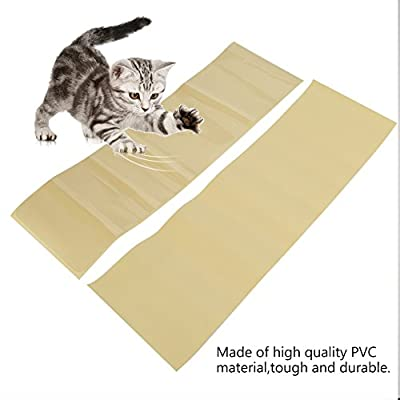 2PCS Cat Scratch Protectors Self-adhesive Pet Couch Protector Clear Pet Furniture Guard Invisible Plastic Couch Shield Door Protector Pad for Furniture Sofa Upholstery Wall Mattress Car Seat from Smandy
