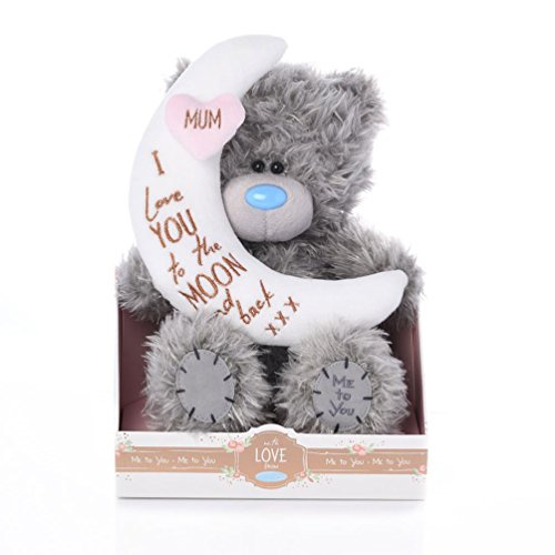 Me to You - 9'' Mum Teddy - Mum, I love you to the Moon and back - Holding crescent moon