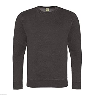 Absab Ltd AWDis Washed Men's Sweatshirt Adult Long Sleeve Lightweight Soft Sweatshirt Boys Crew Round Neck Jumper Mens Casual Plain Blank Sweat Jumper Top Charcoal XL