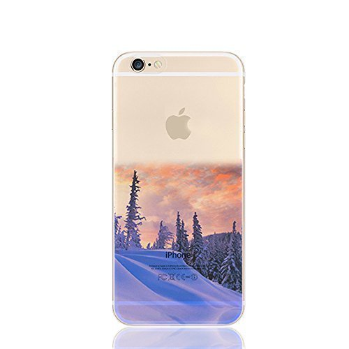 FINOO Custodia cellulare Trasparente Hardcase Paesaggi 4 - Paesaggio Invernale, iPhone 5/5S Paesaggio Invernale