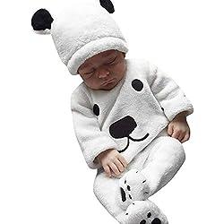 LANSKIRT Ropa para Recién Nacido Infantil bebé niños niñas Conjunto de impresión de Oso de Manga Larga Top + Pantalones + Sombrero Invierno 3PCS Blanco