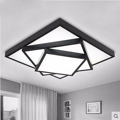 LED lámpara de techo, lámpara de salón rectangular, decoración, originalidad, personalidad multicapa, moderno dormitorio simple, lámpara de techo, negro 62 x 62- luz blanca