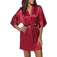 Zegeey Damen Morgenmantel Kimono Kurz Robe Bademantel Nachtwasche Sleepwear V Ausschnitt Sommerkleid Mit Gurtel Dem Satinstoff