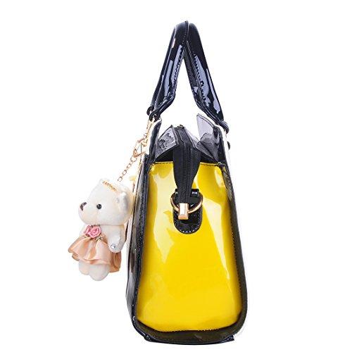 Coofit Damen Handtasche Schultertasche Shopper Taschen Umhängetasche, black (schwarz), 35x32x14cm White