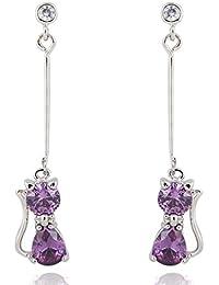 EOZY 1Paire Boucle d'Oreille Pendante Pendante Fil Mignon Chat Cristal Plaqué 18K Or 45mm Violet