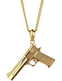 PAURO El arma del CS del Mens del acero inoxidable de adorna el collar punky de Hip Hop de la pistola pendiente para el motorista de oro con la cadena