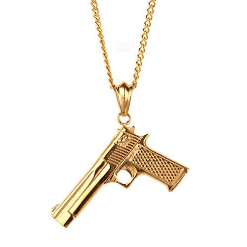 PAURO Edelstahl Herren CS Gun Ornamente Anhänger Pistole Hip Hop Punk Halskette für Biker Golden mit Kette