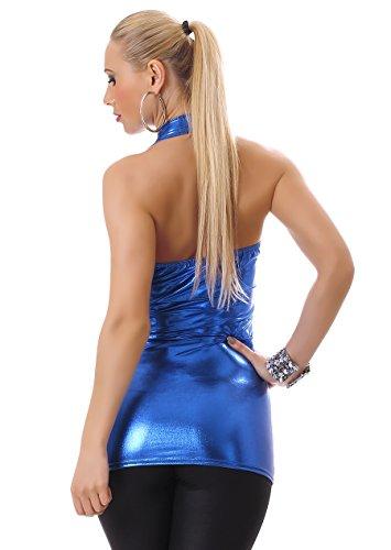 Damen Neckholder Top Shirt mit Kragen Wet-Look rückenfrei figurbetont Blau