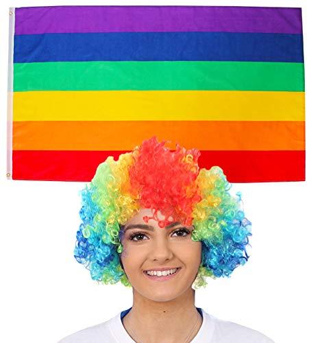 ILOVEFANCYDRESS Regenbogen/Gay PARADEN Dekoration KOSTÜM VERKLEIDUNG =MIT+OHNE ZUBEHÖR=Fussball Sport LÄNDER ABMESSUNGEN VON 152cmX91cm=Flagge +Bunte Afro ()