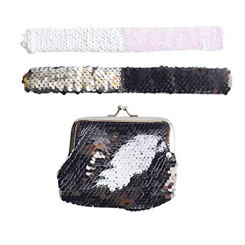 Glitzer Mädchen Geldbörse Geldbeutel Handtasche,Kleine Kosmetiktaschen Bunt Wallet Reißverschluss Aufbewahrungstasche Handytasche Federmäppchen Abendtasche Clutches Damen(mit 2 Bling-Armbänder)