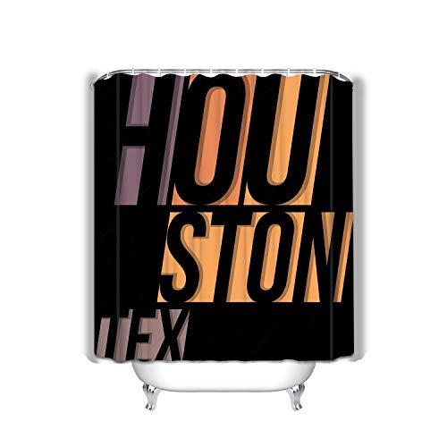Curtain Houston Design Typography Print Fabric Bathroom Decor 60 X 72 Inch ()