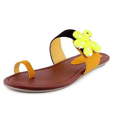 Kielz Women's Yellow Sandals (1452-F-Yellow) -10 UK