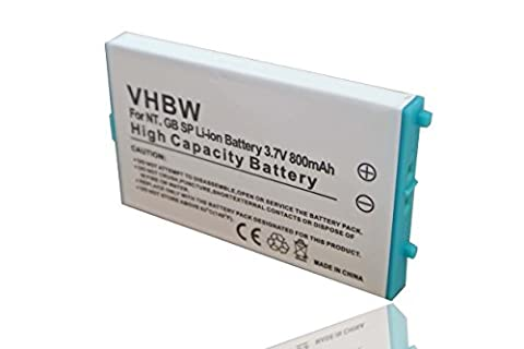 vhbw Li-Ion Akku 800mAh (3.7V) für Spielekonsole Nintendo Gameboy Advance SP Special wie