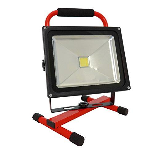 Grafner® Akku-Baustrahler LED 30 Watt 2400 LM 8800 mAh 6000K 2x Ladegerät (230V Ladegerät und KFZ-Ladegerät) Strahler Fluter Akku Lampe Campinglampe Flutlicht (rot)
