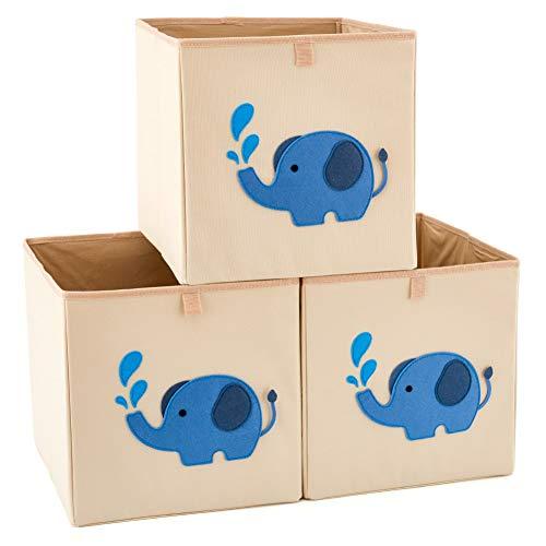 EZOWare 3 pcs Caja de Almacenaje, Caja Cubos Decorativos de Tela para...