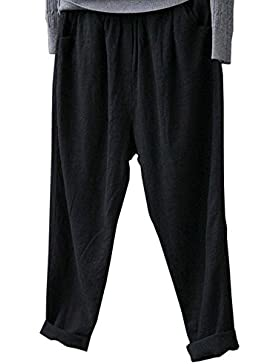 hellomiko Pantaloni retrò in lino estivo da donna, pantaloni casual elastici in vita, pantaloni Harem a piedi...