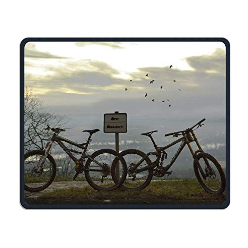 Whecom Two Black Mountain Bikes Anti-Slip Personality Designs Gaming Gaming Mauspad Black Cloth Rectangle Mousepad Art Natural Rubber Mouse Mat with Stitched Edges 9.8x11.8 Inch