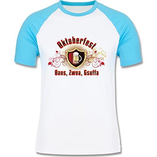 Oktoberfest Herren - Oans, Zwoa, Gsuffa - zweifarbiges Baseballshirt für Männer Weiß/Türkis