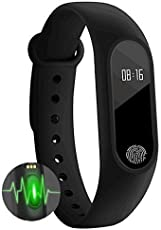 Zciao M2 Smart Fitness Band with Heart Rate Sensor/Pedometer/Sleep Monitoring Functions for one Plus 3T (Dark Black)