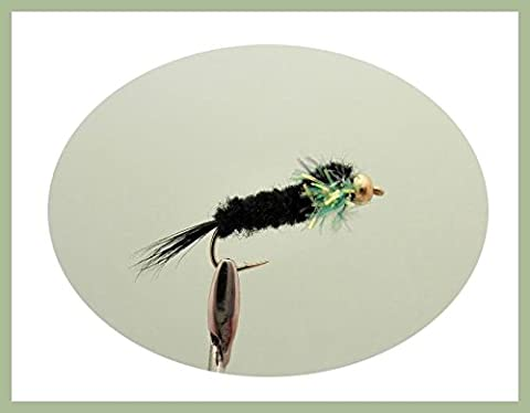 Montana Trout Flies, 12 Green Fritz Collar Montanas, Size 10/12, For Fly Fishing