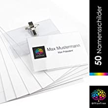 OfficeTree ® 50 plastic name tags with holder clip and needle - professional premium name badges