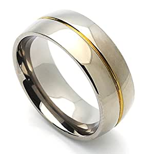 Little Treasures 8MM Comfort Fit Titanium Wedding Band Gold Plated Groove Domed Ring