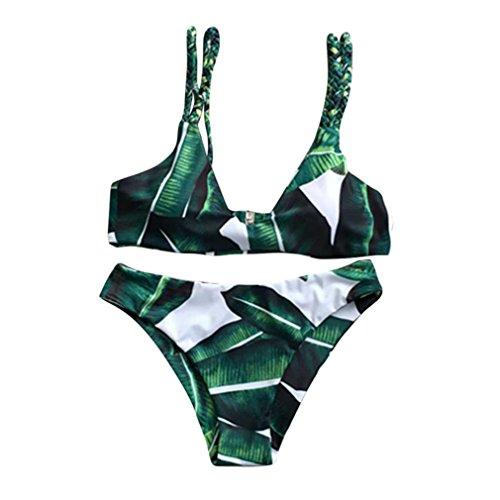 Sunday Frauen Bikini Set Reizvolles Blätter für Seil Monokini Bandage Rükenfrei Badebekleidung für Damen Botany Tan Through Sonnendurchlässiger Support Top Badeanzug (M, ()