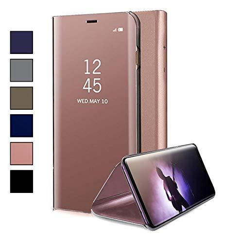 COOVY® Funda para Xiaomi Redmi Note 6 Pro Aspecto metálico, armazón, Lujosa, Ventana de Espejo Transparente, visión Clara, Soporte | Color Oro Rosa