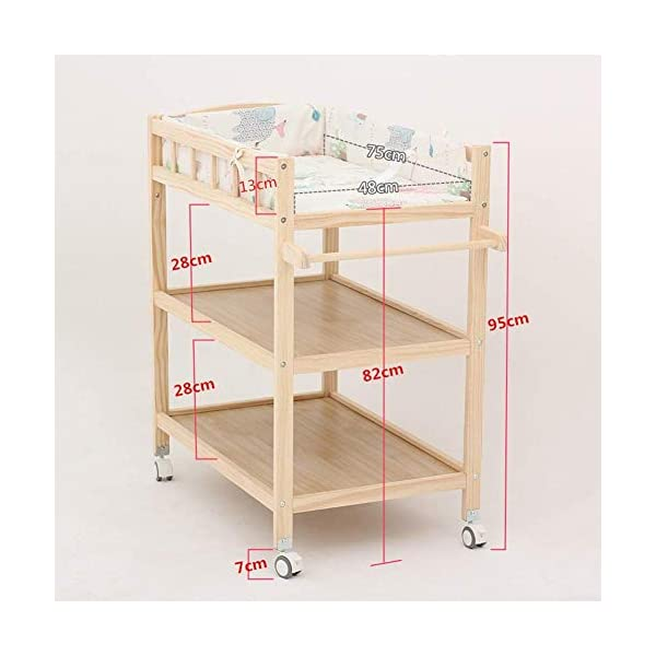 Baby Changing Table Dresser Unit with Mosquito Net & Storage Box, Heavy Duty Wood Diaper Station On Wheels GUYUE 2-gear higth adjustment (88-95cm), the height can be adjusted freely according to the height of the mother. Guardrail: Guardrail height 13cm, Protect your baby's delicate body. Strong and sturdy wood construction, Pine wood production, health and Environmental Protection.(Load bearing 150kg) 2