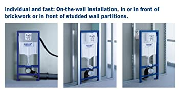 Grohe 38772001 Rapid Sl 3-in-1 Set For Wall-hung Toilet (Wall Brackets & Skate Cosmopolitan Chrome Flush Plate) 3