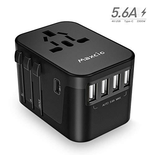 Reiseadapter Weltweit, Maxcio Reisestecker Universal Travel Adapter mit 4 USB Ports+Type C, Internationale Adapter für 200+ Länder USA UK Italien Irland Kanada Australien Thailand mit Ersatzsicherung - 110v Dc-a/c