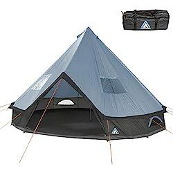 10T Outdoor Equipment Mixte - Adulte Camping Tente Mojave 400 Arona XXL Tipi Tente Ronde étanche 4-8 Hommes Tente Indienne Ø 4 m Bleu