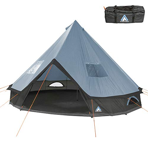 10T Outdoor Equipment Campingzelt Mojave 500 Arona XXL Tipi Zelt wasserdichtes 5-10 Mann Rundzelt Indianerzelt Ø5m, Grau Blau V10, 5 bis 10 Personen - Ø 500 x 300 cm