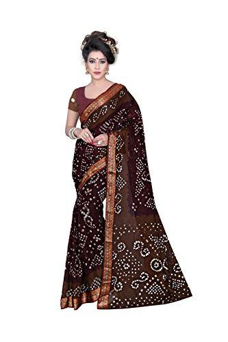 Star Saree Mall 100%Cotton Saree (Sarees(Bandhani)_Coffee)