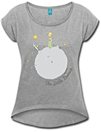 Spreadshirt Little Prince Asteroid B612 Illustration Women's T-Shirt With Rolled up Sleeves