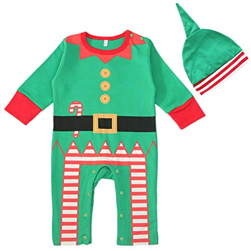 Kostüm Elf Weihnachten Kleinkind Für - BESTOYARD Baby Elf Kostüm Baby Elf Strampler mit Elf Hut Kleinkind Kinder Baby Weihnachten Kostüm Größe L 2 Stück (Grün)