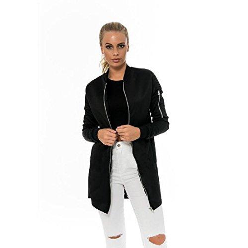 WOCACHI Damen Mäntel Mode für Frauen dünne lange Mantel-Jacken-Graben Parka Outwear Strickjacke (M, Schwarz)