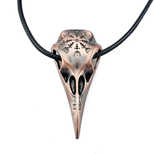 URBANTIMBER Wikinger Halskette Hugin & Munin Schädel mit Helm of Awe - Silber oder Bronze -