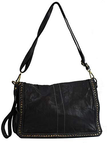 BZNA Bag Gil Schwarz nero Italy Designer Clutch Umhängetasche Damen Handtasche Schultertasche Tasche Leder Shopper Neu
