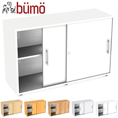 bümö® Schiebetürenschrank mit Schloss   Aktenschrank abschließbar für Ordner   Büroschrank mit Schiebetüren für Akten in Weiß