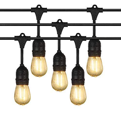 Draußen Lichterketten, iEGrow 15 Meter LED Wasserdicht Anschließbar Lichterketten 15 E27 Edison Vintage Glühbirnen für Laubengang Deck Wirtshaus Blumengarten Garden Party