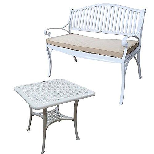 Lazy Susan - GRACE Gartenbank und SANDRA Quadratischer Kaffeetisch - Gartenmöbel Set aus Metall, Weiß (Beiges Kissen)