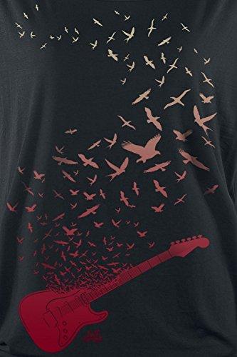 Full Volume by EMP Guitar Birds Girl-Shirt Schwarz Schwarz