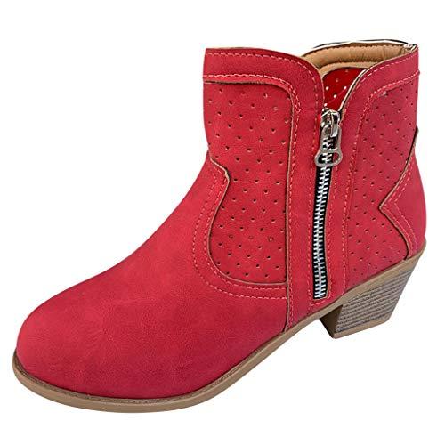 COZOCO Damen Hohl Dicke Ferse Stiefel Einfarbig Stiefeletten Runde Kappe Quadratische Ferse Freizeit Stiefel Vintage Rom Stiefel(rot,35 EU)