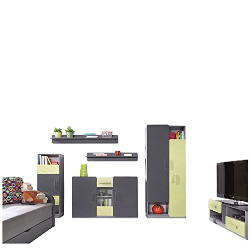 Mirjan24  Kinderzimmer Set Lido V, inkl. Kleiderschrank, Standregal, Kommode, TV-Lowboard, Hängeregal, Hängeregal, Komplett, Jugendzimmer Set (ohne Beleuchtung, Aschgrau/Grafit + Grün)