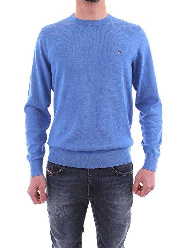 Tommy Hilfiger Herren Pullover Cotton Silk Cneck Blau (Regatta Heather 492)